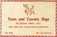 Business card from 'Town and Country Dogs, London c 1960.