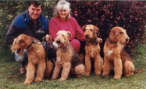Lyn and Colin Duff with Ch Exmoor Sir Ego, Ch Devonaire Lady Pamela, Ch Airewood April Gold and Ch Devonaire Mono thematch
