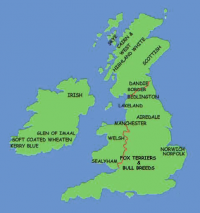 British Isles showing roughly the areas where Terriers Originated