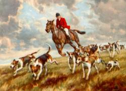 Terrier Running with the Hounds